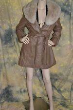 vtg 70s 80s TAUPE leather HUGE SILVER FOX collar NATURAL fur COAT JACKET M