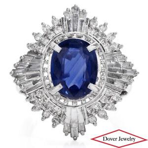 GIA Diamond 4.13ct Natural Blue Sapphire Platinum Cluster Ring 8.1 Grams NR