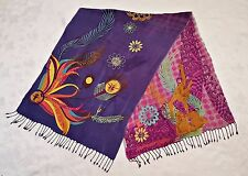 VINTAGE CIRCUE DU SOLEIL LOGO EMBROIDERY PURPLE BLUE LONG WOMENS SCARF