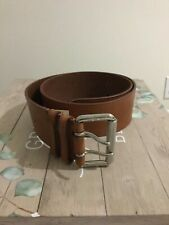 $450 RALPH LAUREN BURNISHED TAN DOUBLE PRONG WOMENS LEATHER BELT. Sz Small.