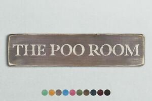 THE POO ROOM Vintage Style Wooden Sign. Shabby Chic Retro Home Gift