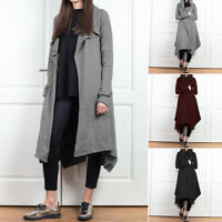 UK Womens Long Sleeve Hooded Cardigans Ladies Long Trench Coats Jackets Outwear