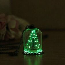 Luminous Glow in the Dark Snowflake Christmas Tree Glass Bottle Pendant Necklace