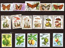 LAOS Champignons,papillons,fruits exotiques, timbres oblitérés  F127