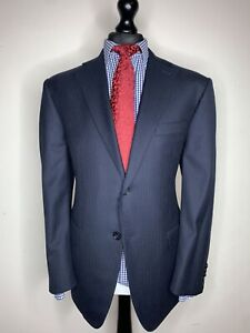 BESPOKE MABRO X LUXURY SUIT HAND TAILORED FULL CANVASSED PIN STRIPED NAVY 44x38