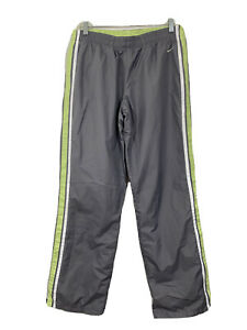 Nike Women's Athletic Windbreaker Mesh Lined Track Pants Gray Green Size 8 - 10
