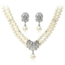 ITALINA 18K WHITE GOLD PLATED AUSTRIAN CRYSTAL & PEARL NECKLACE & EARRING  SET