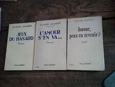 Lot de 3 livres de Claude Jaunière Jeux du hasard L'amour s'en va Amour peux-tu