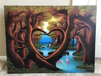 Original Haitian Art oil  Painting By Ambroise Domez , canvas, Haiti