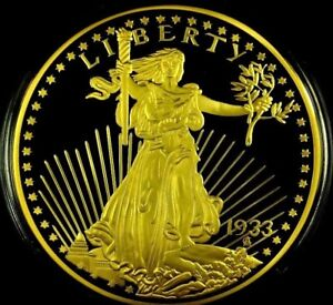 JUMBO 1933 GOLD DOUBLE EAGLE COIN PROOF LUCKY MONEY VALUE $199.99