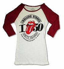 ROLLING STONES FIVE DECADES GIRLS JUNIORS WHITE RAGLAN SHIRT NEW OFFICIAL S