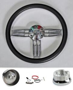 """67-68 Chevelle El Camino Nova Black Double Barrel Steering Wheel 14"""" Bowtie"""