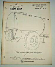 Hawk Bilt 1100 Liquid Manure Spreader Operators Owners Parts Manual Ss373