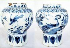 Antique Dutch Delft Vase Handpainted Bird From Museum Blue White 17C (4637)
