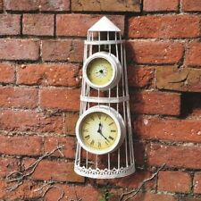 NEW OUTDOOR GARDEN VINTAGE TRADITIONAL WALL CLOCK WHITE SHABBY CHIC THERMOMETER