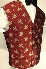 """BURTON"" PURE SILK  WAISTCOAT GOLD LIONS ON A CRIMSON RED BACKGROUND 40"" CHEST"