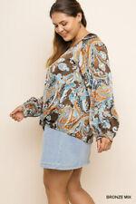 XL-PLUS 1XL 2X UMGEE NAVY BRONZE GREY Paisley Puff sleeve Blouse/Shirt/Top BHCS