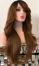 Auburn Wig  Ombré Dark Roots Wavy Layered Straight On The Back Heat Resistant 24