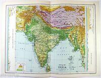 Original 1909 Physical Map of India by John Bartholomew & Co. Antique