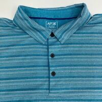 Apt. 9 Polo Shirt Men's Size 2XL Short Sleeve Blue White Striped Golf Casual