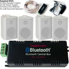 Wireless/Bluetooth Amplifier & 4x 100W Wall Mounted Speaker Kit –HiFi Amp System