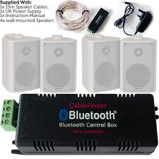 Wireless/Bluetooth Amplifier & 4x 100W Wall Mounted Speaker Kit –HiFi Amp System