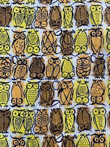 Vintage Owl Fabric Yellow Orange Brown Black Novelty 1970s 1 Yd