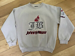 Vintage 90s Johnny Blaze Spellout Sweatshirt | Medium | Beige | Rare | Embroided