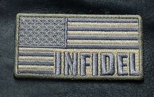 INFIDEL US AMERICAN FLAG ACU SUBDUED TACTICAL MORALE CRUSADER  HOOK LOOP PATCH
