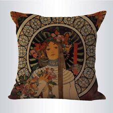 US SELLER- Alphonse Mucha The Trappistine cushion cover decorative pillow case