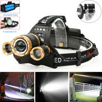 ZOOM CREE 30000LM 3X XML T6 LED Headlamp Head Light Torch Lamp 18650 Battery CHL