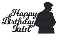 Peaky Personalised Glitter birthday Cake Topper Any Name Party blind