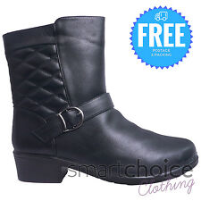 Girls Womens Ladies Wedge Ankle Boots Low Heel Platform Zipper Fur Leather Shoes