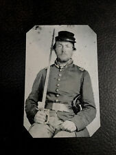 tintype of civil war soldier  with pistol and sword tintype C578RP