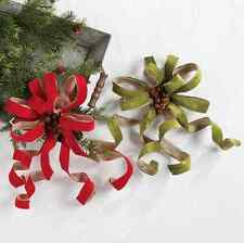 """WHOLESALE LOT of 20 RAZ 16.5"""" Clip-on Red/Green Bow Christmas w/Bells 3506768"""