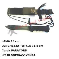 Coltello da Caccia Survival con fodero rigido e Paracord kit sopravvivenza RAMBO