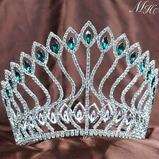 "Fabulous 5"" Crowns Beauty Pageant Tiara Emerald Green Rhinestones Party Costumes"