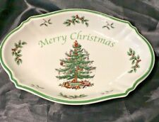 "SPODE CHRISTMAS TREE OVAL TRAY DISH ""MERRY CHRISTMAS"" NO BOX BUT TAG REMAINS"