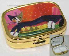 """Pillendose Tablettenbox mit Spiegel R. WACHTMEISTER """"Katze auf Sofa"""""""