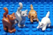 Lego 4 Gato ~ Four Gatos Gatitos Naranja Tabby Gris & Blanco Minifigura Animales