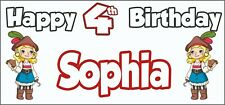 Girl Pirate 4th Birthday Banner x 2 - Party Decorations - Personalised ANY NAME