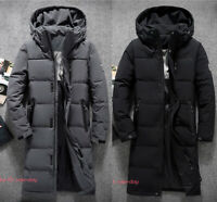 Mens Winter Casual Warm Duck Down Jacket Hooded Coat Puffer Long Parka Outwear