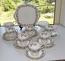 Aynsley Fine Bone China April Rose 20 PC Teaset Cups Saucers Plates Milk Sugar