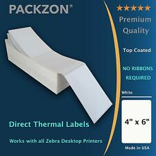 PACKZON® 4000 4x6 Fanfold Direct Thermal Shipping Labels W/ Top Coated