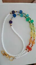 Rainbow Disc Id badge Holder Lanyard made with Swarovski Crystals