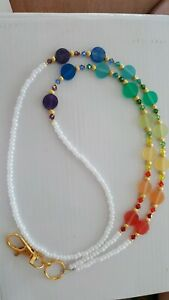 Rainbow Disc Id badge Holder Lanyard made with Swarovski Crystals