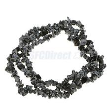 Strand 34 Inch 6-8mm Snowflake Obsidian Gems Chips Loose Beads DIY  Jewelry
