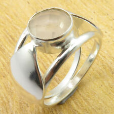 Size 5.75 Ring JEWEL 925 Silver Plated Natural Rose Quartz GIFT FOR LOVED ONES