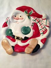 """Vintage Fitz & Floyd Santa Claus 9"""" Glazed Christmas Cookie Plate / Candy Dish"""