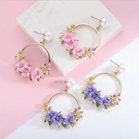 Korean Women Crystal Flower Pearl Ear Stud Dangle Drop Hoop Earrings Jewelry